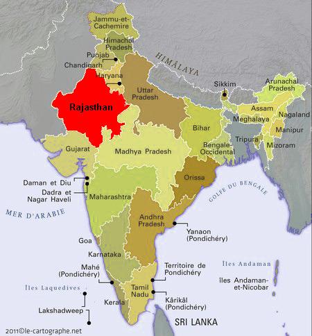 carte rajasthan touristique